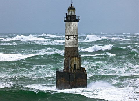 Photo The Ar-Men lighthouse in the Sein causeway, Brittany par Philip Plisson