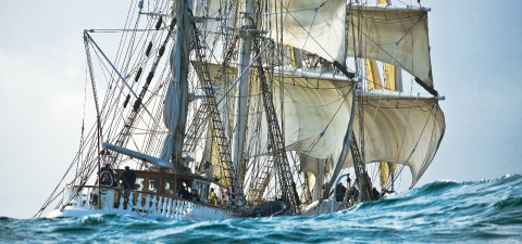 Photo The three-masted boat Belem behind the wave par Philip Plisson