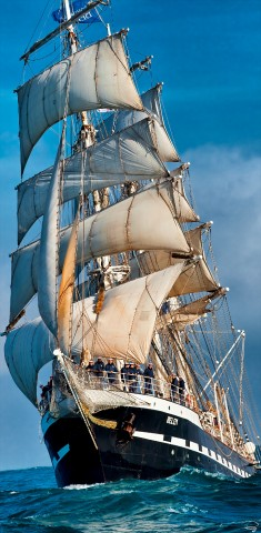 Photo Under the bow of Belem, the last French three-masted barque par Philip Plisson