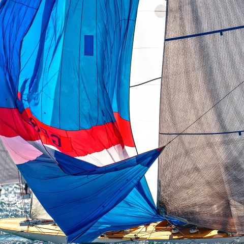 Photo Lowering the sail at the buoy, traditional yacht par Philip Plisson