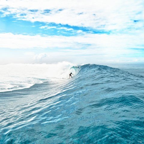 Photo Surf à Teahupoo, Tahiti par Philip Plisson
