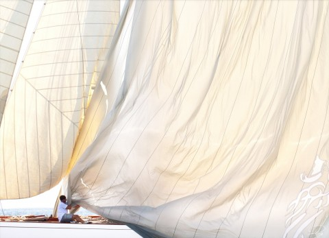 Photo Mainsail down on a classic yacht par Philip Plisson