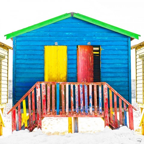 Photo Blue beach hut, South Africa par Philip Plisson