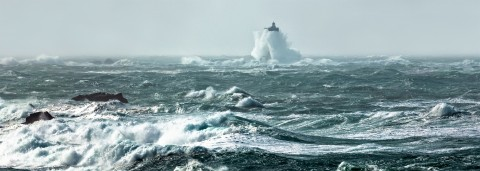 Photo The lighthouse of the Four in the storm par Philip Plisson