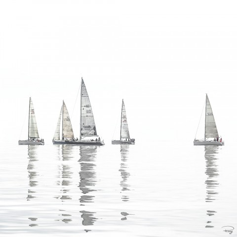 Photo Regatta in the mist par Philip Plisson