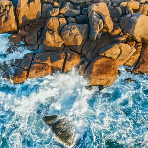 Photo The Pink Granite Coast seen from the sky par Philip Plisson