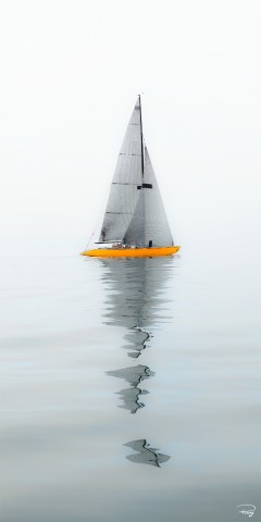 Photo 6m JI on a glassy sea par Philip Plisson
