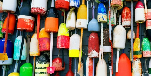 Photo Fishing buoys, multicolored floats par Philip Plisson